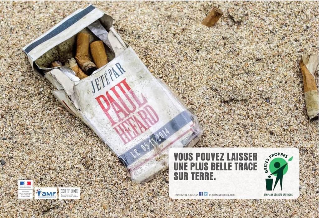 Campagne d'affichage de l'association Gestes Propres pour sensibiliser le grand public sur les déchets sauvages.