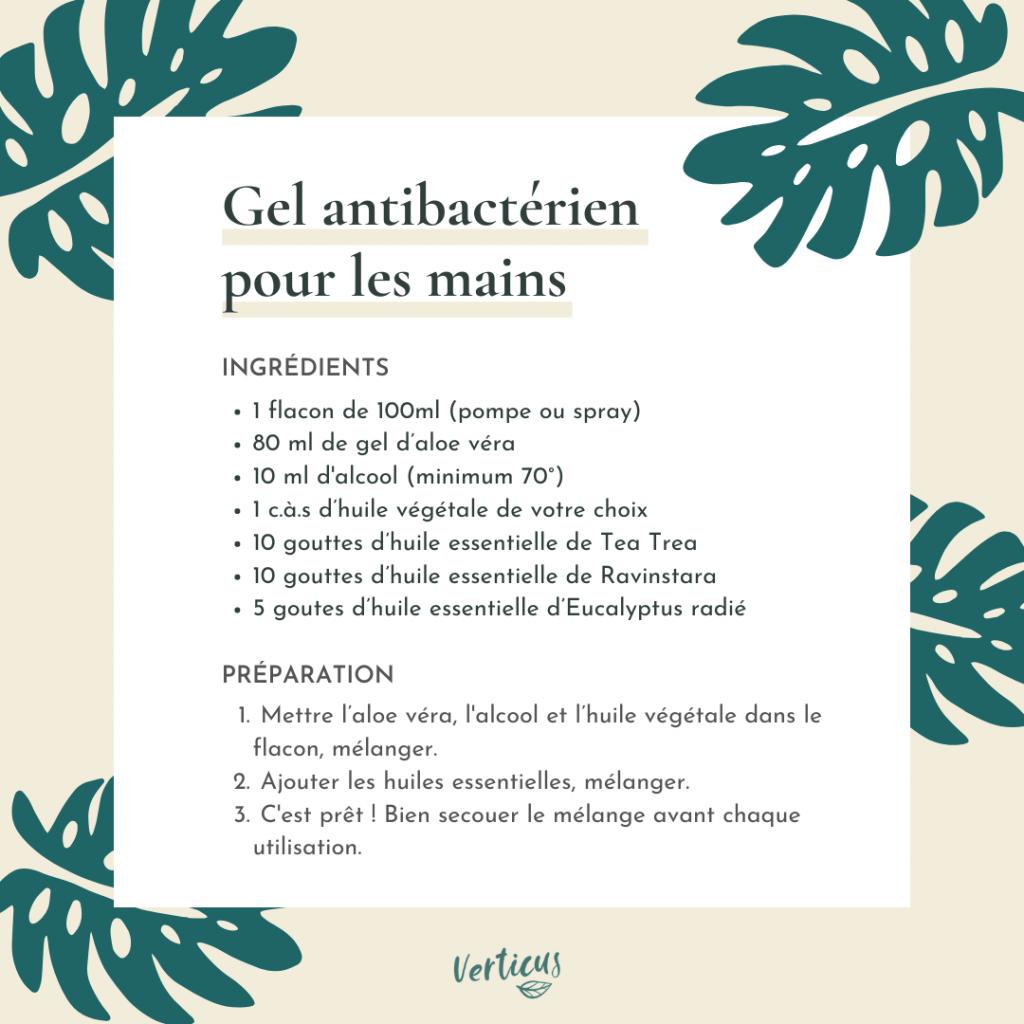 Recette pour faire soi-même un gel antibactérien aux huiles essentielles