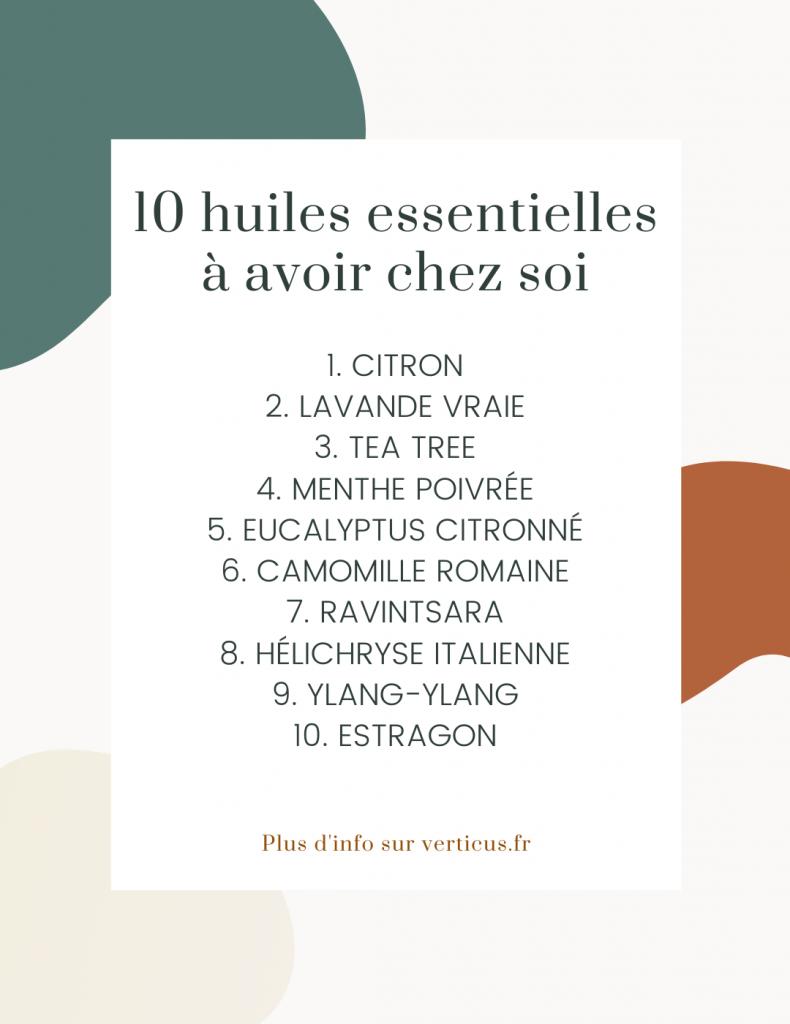 10 huiles essentielles indispensables à avoir à la maison et comment bien les utiliser.