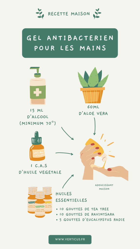 recette maison gel nettoyant antibactérien pour les mains