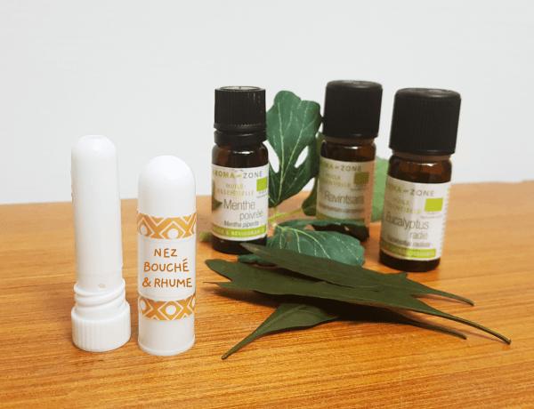 Stick inhalateur maison aux huiles essentielles contre le nez bouché et le rhume