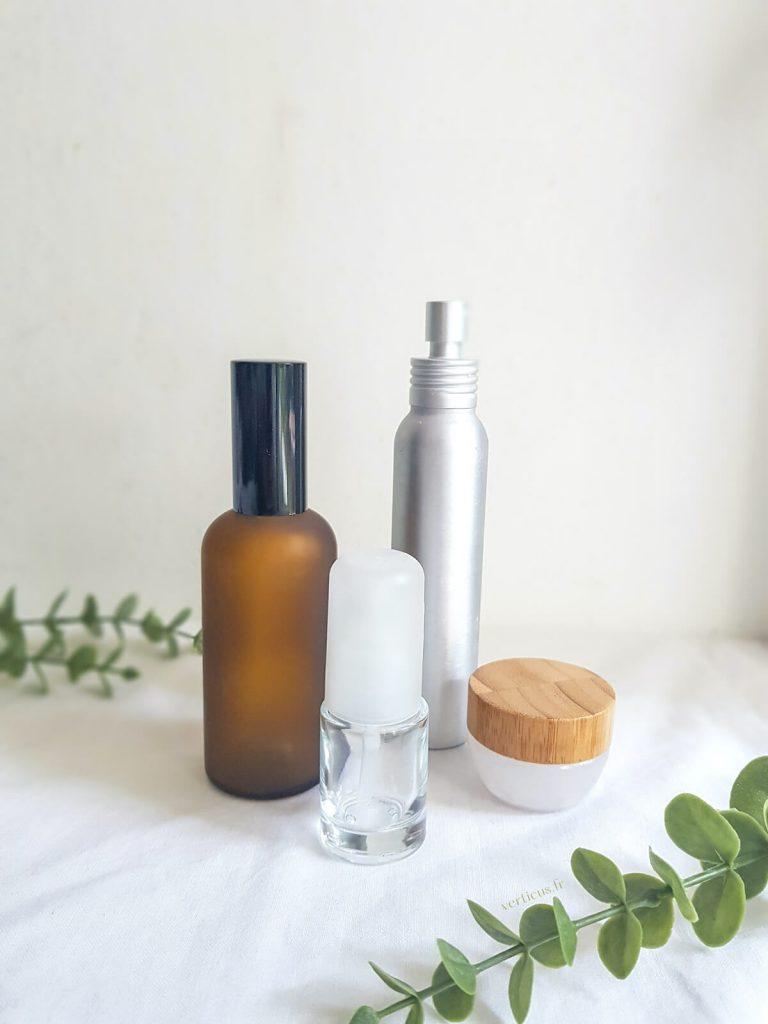 contenants, flacons et pots pour faire ses cosmétiques maison