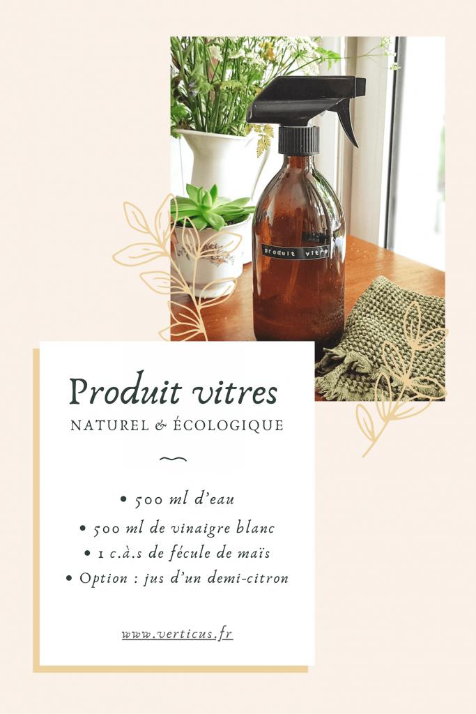 Recette de produit vitre maison au vinaigre ménager et maïzena