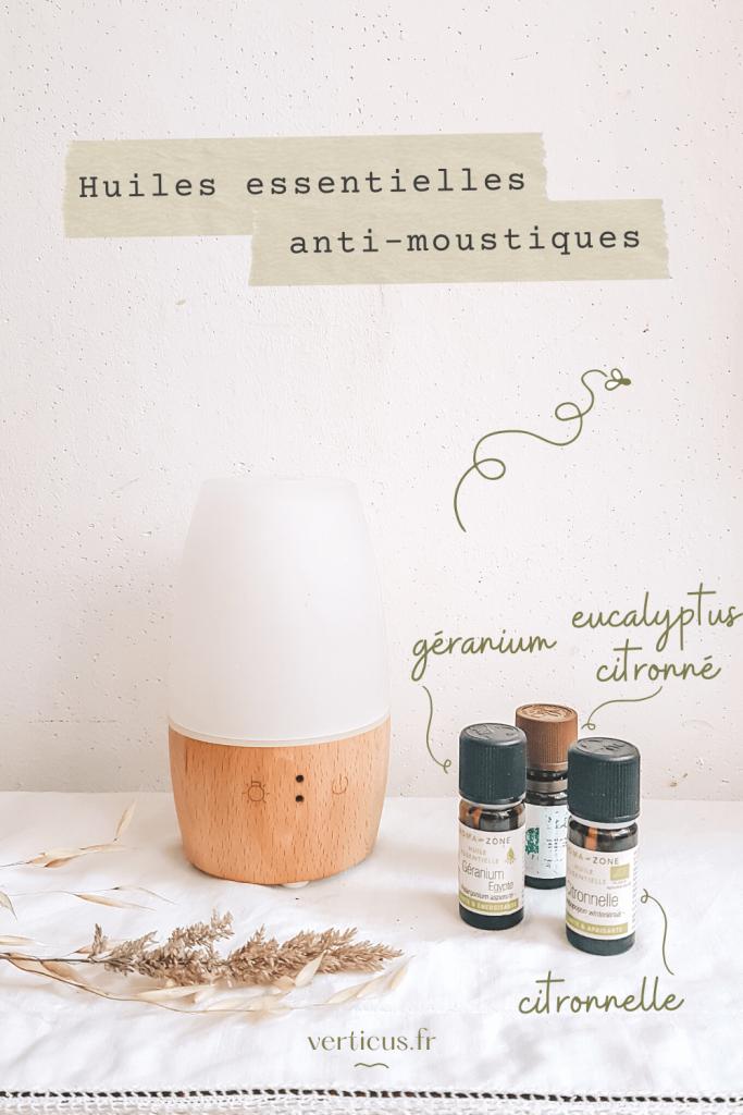 Mélange d'huiles essentielles anti-moustiques à diffuser : citronnelle, géranium et eucalyptus citronné