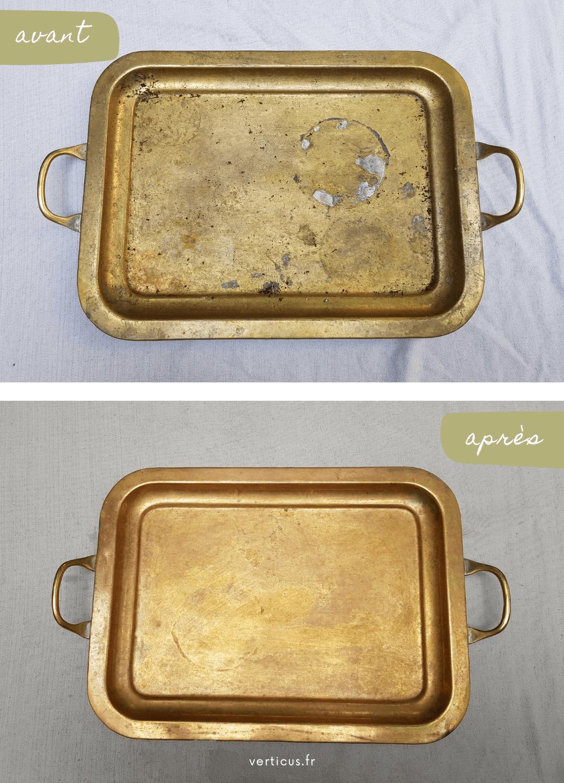 Avant/Après avec mon astuce pour nettoyer le cuivre naturellement